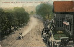 Automobile Races, River Drive, Fairmount Park Postcard