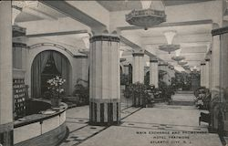 Main Exchange and Promenade Hotel Traymore Postcard