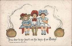 Three Little Girls and Boston Baked Beans Postcard