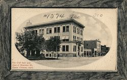 The City Hall and View of Sherman St. Postcard