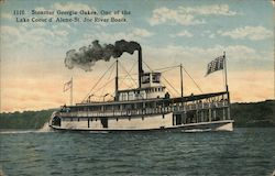 Steamer Georgia Oakes, Lake Coeur d'Alene-St. Joe River Boat Postcard