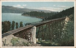 Chatcolet Lake Railroad Trestle Postcard