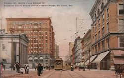 Fourth St. NOrth from Market St. Showing Court House and Planter's hotel