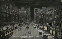 Main Street South from the Junction, by Night Postcard