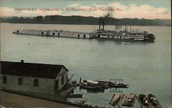 Steamboat and Barges Going up the Mississippi River Postcard