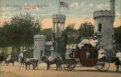 Pony Coach at Entrance to Krug Park Postcard