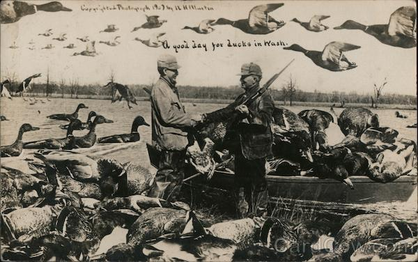 Hunters shaking hands. A good day for ducks in Wash. Boat full of huge ducks. Washington