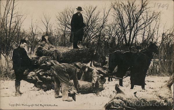 Loading the Wagon After a Day of Hunting Giant Rabbits