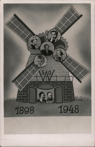 1898 1948 Dutch Windmill 50th wedding anniversary, family pictures inserted