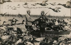 Hunters shaking hands. A good day for ducks in Wash. Boat full of huge ducks. Postcard