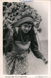Village Girl with Firewood Postcard