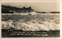 Large waves at Pine Ave Pier Postcard