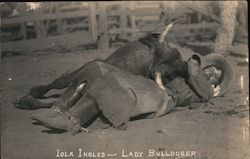 Iola Ingles - Lady Bulldoger Postcard