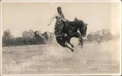 Lee Caldwell on a Flying Devil - Miles City Roundup Postcard