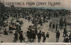 Greeting's from Coney Island Beach Postcard