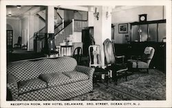 Reception Room, New Hotel Delaware, 3rd Street Postcard