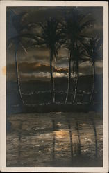Palm Trees with Clouds and Sunset and Reflection on Water Postcard