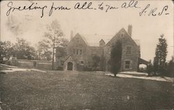 Chateau building of stone, tall brick patio Postcard