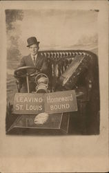 Leaving St. Louis Homeward Bound. Photo of man in car, photo studio Postcard