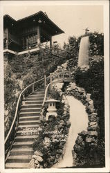 Waterfall and Beautiful Japanese Garden Postcard