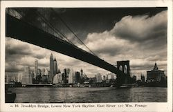 Brooklyn Bridge, Lower New York Skyline, East River Postcard