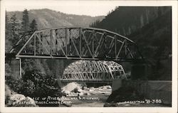 Meeting Place or River, Railway & Highway, Feather RIver Canyon Postcard