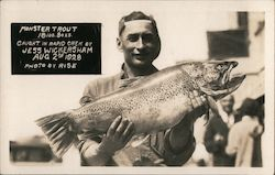 Monster Trout 18 lbs 3 oz, Caught in Rapid Creek by Jess Wickersham Aug 2nd 1928 Postcard