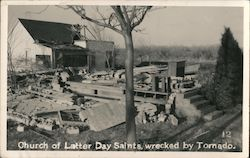 Church of Latter Day Saints, wrecked by Tornado. Postcard