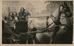 New York Worlds Fair 1940 Staged Photo of Three Women in Wagon drawn by One Horse - with Painted Background Postcard
