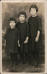 Three Brown Haired Girls, Inuit? Postcard