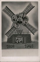 1898 1948 Dutch Windmill 50th wedding anniversary, family pictures inserted Postcard