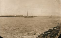 Crossing the bar, Bandon Beach, pier, sail boat, steamer Postcard