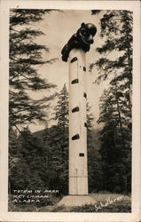 Totem Pole Surrounded by Pine Trees in Alaskan Park Postcard