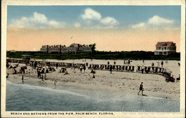 Beach And Bathers From The Pier Palm Beach Florida