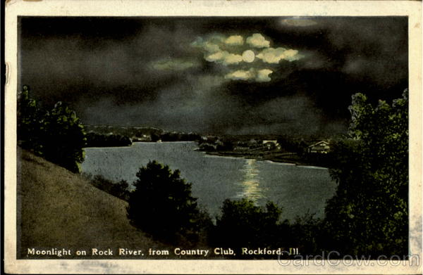 Moonlight On Rock River From Country Club Rockford Illinois