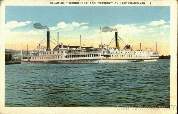 Steamers Ticonderoga And Vermont On Lake Champlain