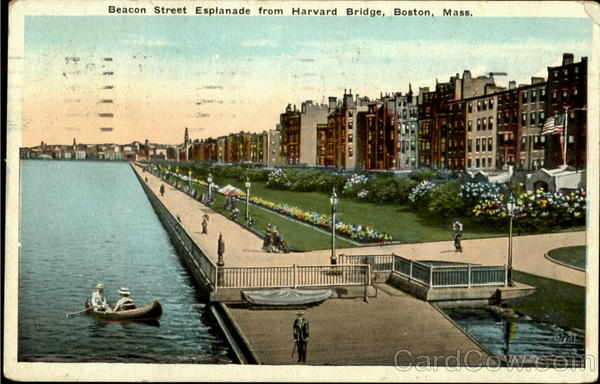 Beacon Street Esplanade From Harvard Bridge Boston Massachusetts