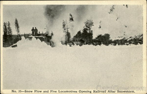 Snow Plow And Five Locomotives Opening Railroad After Snowstorm McCloud California