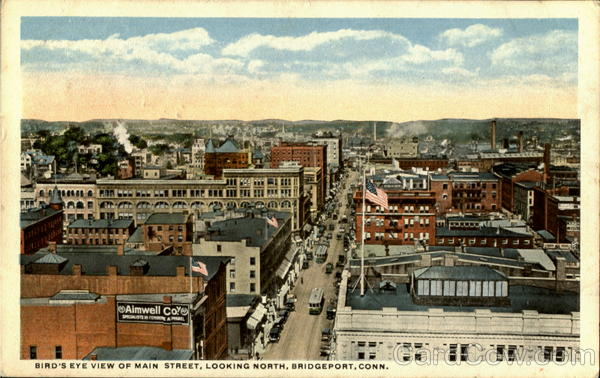 Bird's Eye View Of Main Street Bridgeport Connecticut