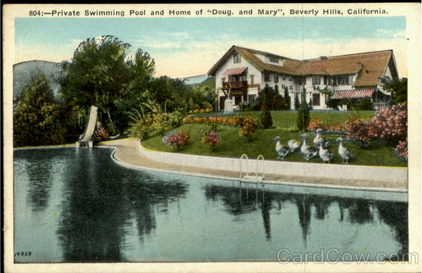 Private Swimming Pool And Home Of Doug And Mary Beverly Hills California