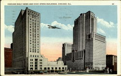 Chicago Daily News And Civic Opera Building Postcard