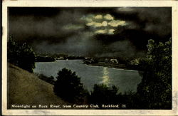 Moonlight On Rock River From Country Club Postcard