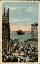 Launching Of A Battleship At Ship Yard