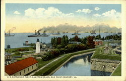 U. S. Battleship Fleet, Hampton Roads Postcard