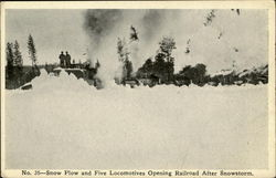 Snow Plow And Five Locomotives Opening Railroad After Snowstorm