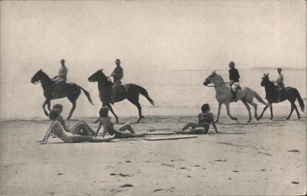 Horseback Riders and Sun Bathers on Beach of Rio Del Mar Country Club California