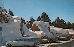Winter in the Sierras. 1968-1969. High snow, village, cars Postcard