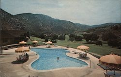 Lawrence Welk's Country Club Village Welkome Inn Restaurant Pool Area, mountains Postcard