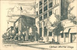 Black and White Illustration of Uptown Whittier Village Postcard