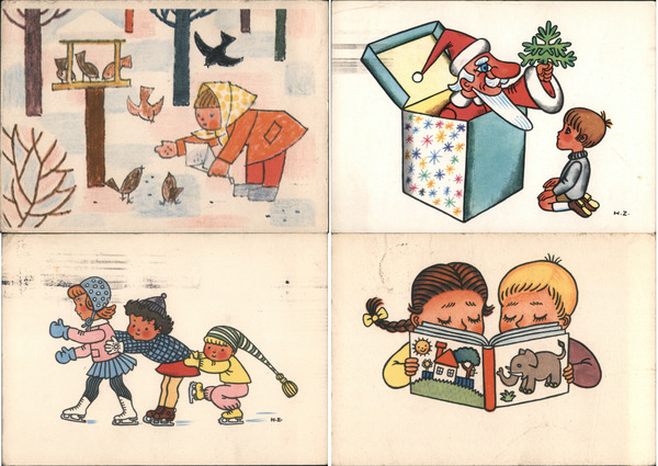 Set of 4: Czech Christmas Postcards with Children Artist Signed